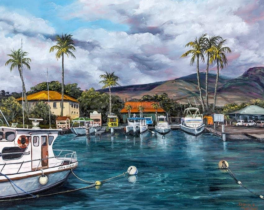 Lahaina harbor by Hawaiian Painter Darice Machel McGuire