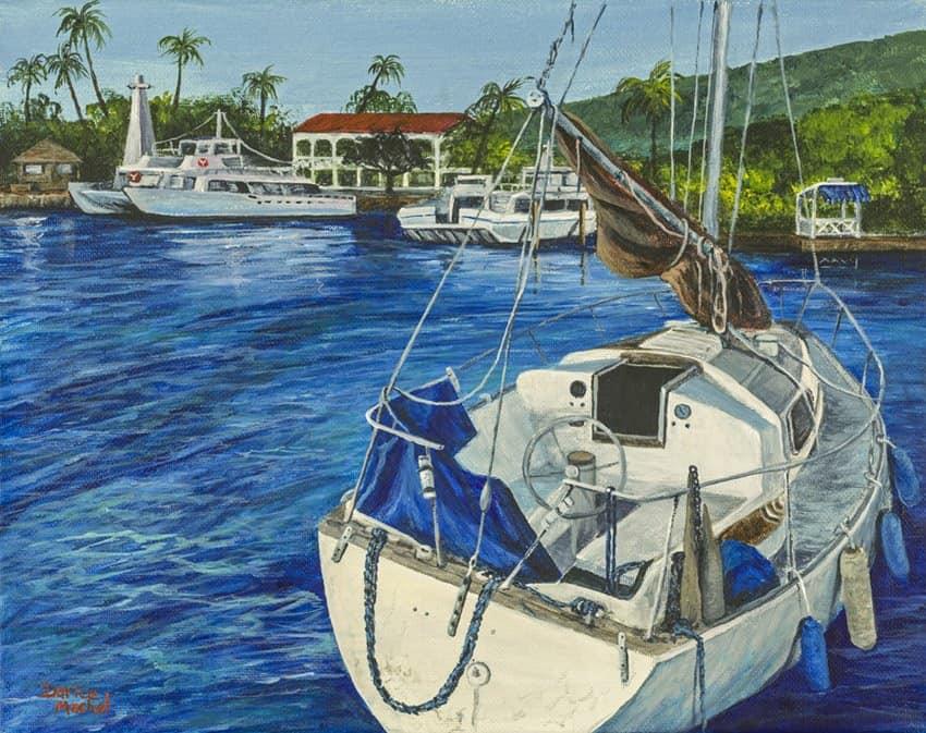 lahaina yacht by Hawaiian Painter Darice Machel McGuire