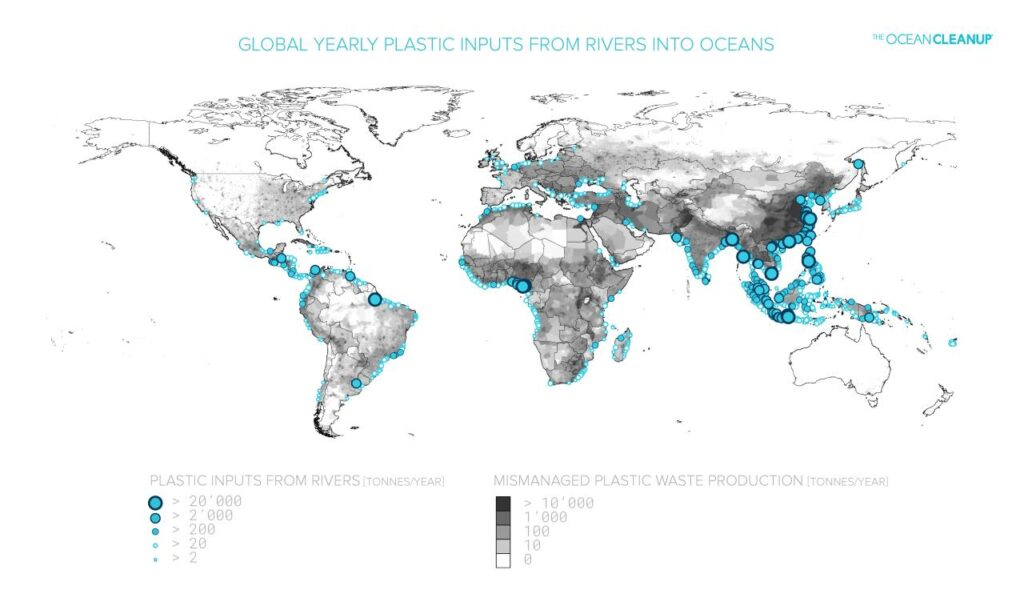 Global Yearly Plastic Inputs From Rivers Into Oceans