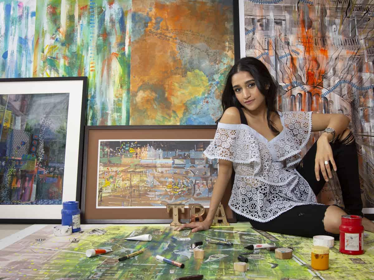 Painter Akshita Gandhi in her studio