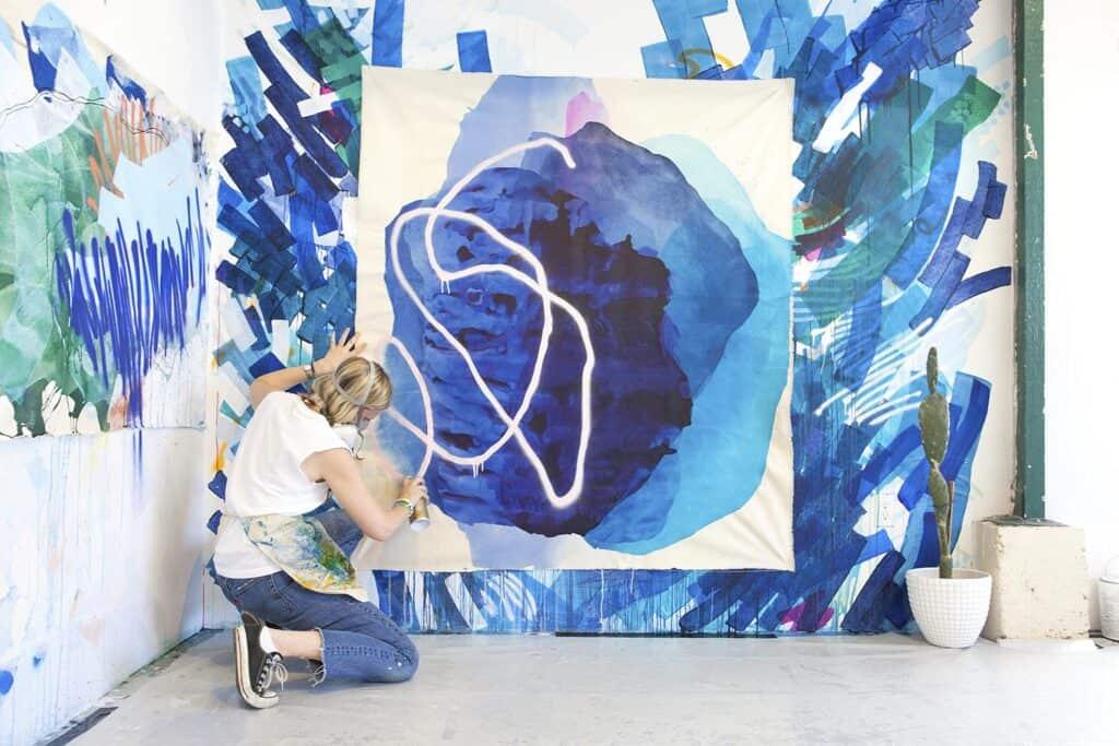 Abstract Painter Rebecca Youssef in her studio